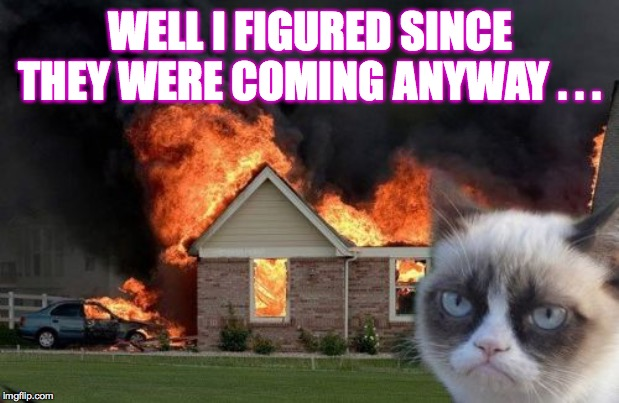Burn Kitty Meme | WELL I FIGURED SINCE THEY WERE COMING ANYWAY . . . | image tagged in memes,burn kitty,grumpy cat | made w/ Imgflip meme maker