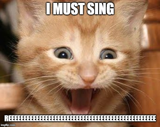 Excited Cat |  I MUST SING; REEEEEEEEEEEEEEEEEEEEEEEEEEEEEEEEEEEEEEEEEEEEEEEE | image tagged in memes,excited cat | made w/ Imgflip meme maker