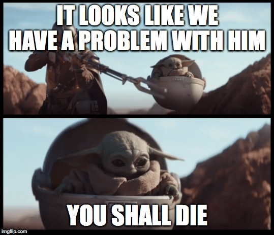 Baby Yoda |  IT LOOKS LIKE WE HAVE A PROBLEM WITH HIM; YOU SHALL DIE | image tagged in baby yoda | made w/ Imgflip meme maker
