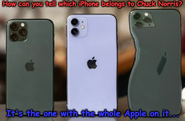 This iPhone Belongs to Chuck Norris | How can you tell which iPhone belongs to Chuck Norris? It's the one with the whole Apple on it... | image tagged in chuck norris,iphone,apple | made w/ Imgflip meme maker
