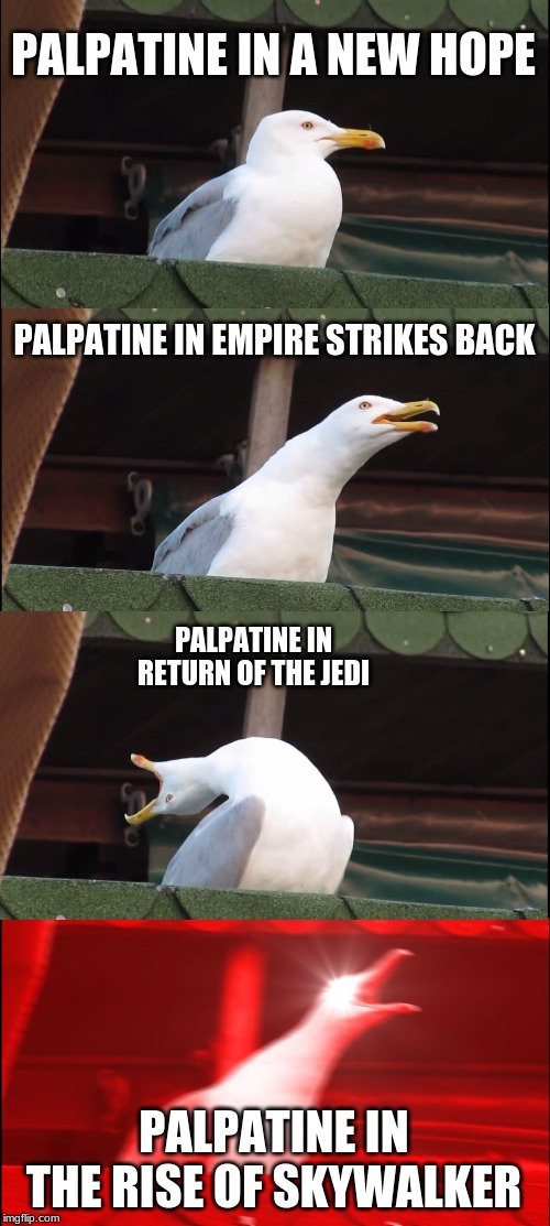 Inhaling Seagull Meme | PALPATINE IN A NEW HOPE PALPATINE IN EMPIRE STRIKES BACK PALPATINE IN RETURN OF THE JEDI PALPATINE IN THE RISE OF SKYWALKER | image tagged in memes,inhaling seagull | made w/ Imgflip meme maker