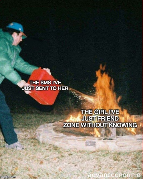 Friend zone without knowing |  THE SMS I'VE JUST SENT TO HER; THE GIRL I'VE JUST FRIEND ZONE WITHOUT KNOWING | image tagged in pouring gas on fire,memes,funny,friendzoned,ww3,fml | made w/ Imgflip meme maker