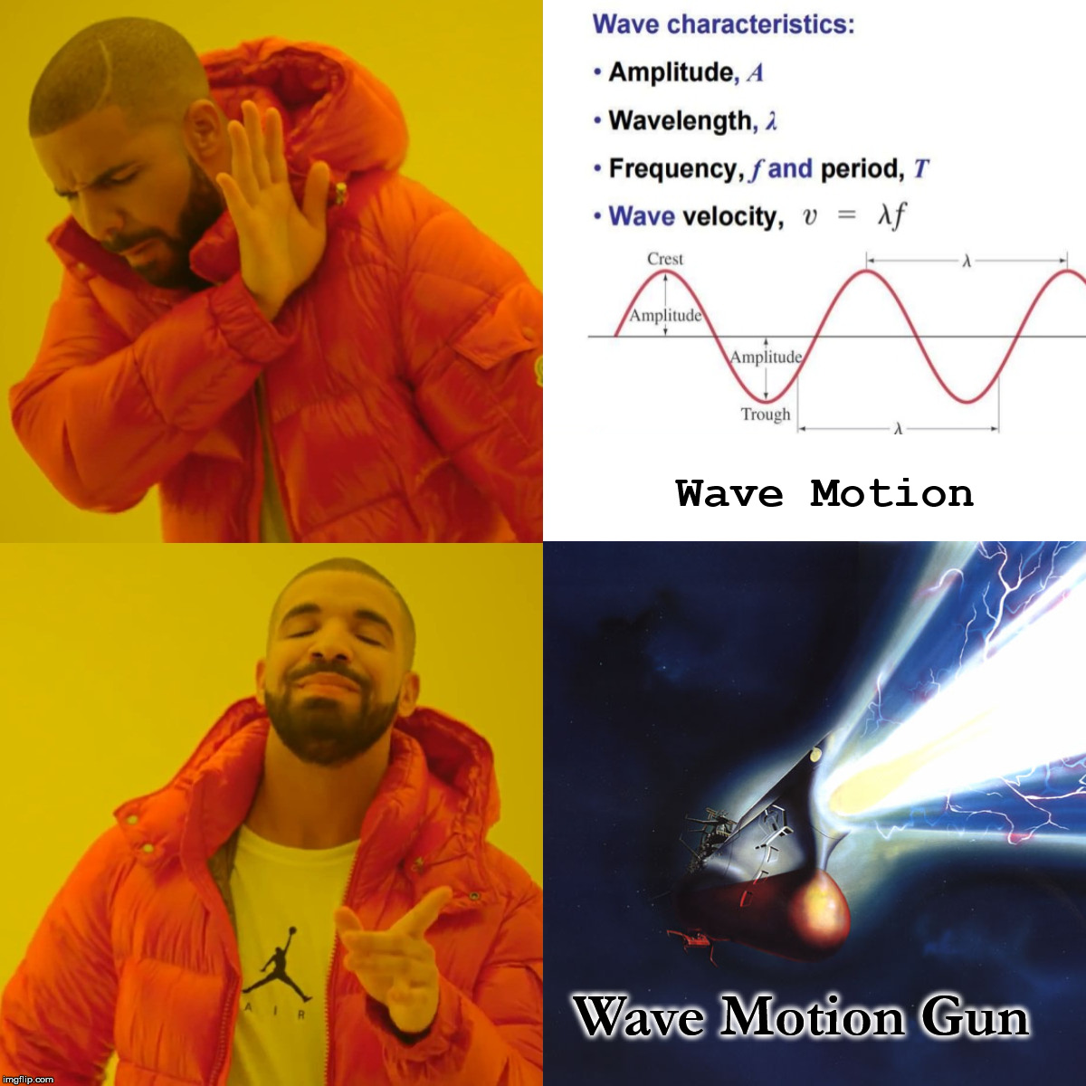 Wednesday Waves |  Wave Motion; Wave Motion Gun | image tagged in space battleship yamato,physics,sci-fi,drake hotline approves,waves | made w/ Imgflip meme maker