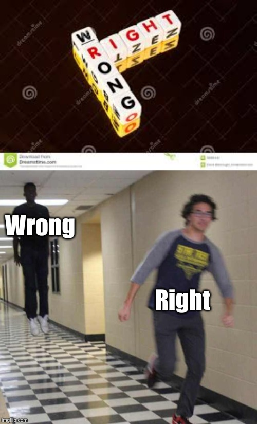 Wrong Right | image tagged in floating boy chasing running boy | made w/ Imgflip meme maker