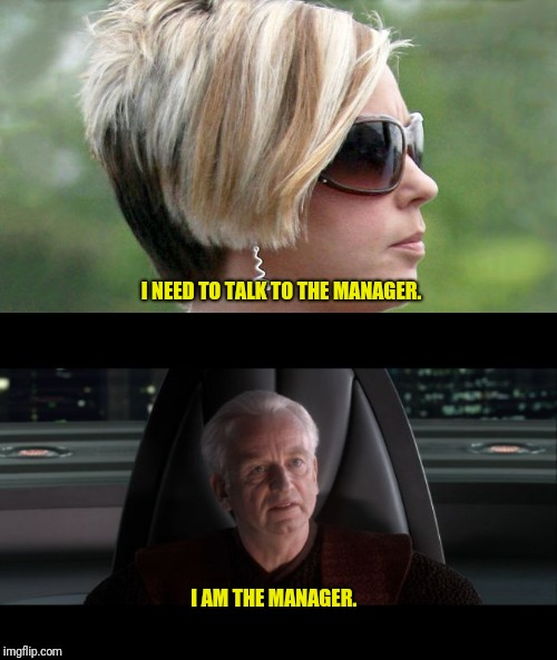 I NEED TO TALK TO THE MANAGER. I AM THE MANAGER. | image tagged in i am the senate,karen | made w/ Imgflip meme maker