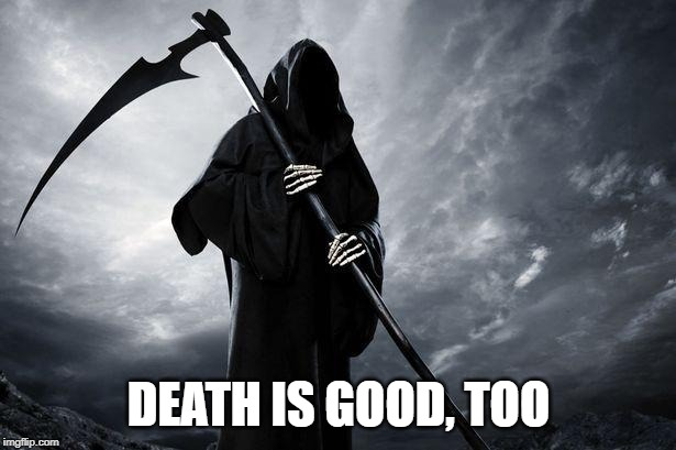 Death | DEATH IS GOOD, TOO | image tagged in death | made w/ Imgflip meme maker