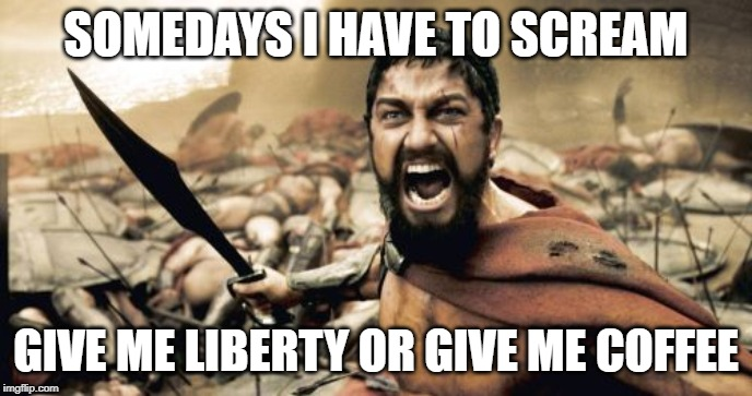 Sparta Leonidas Meme | SOMEDAYS I HAVE TO SCREAM GIVE ME LIBERTY OR GIVE ME COFFEE | image tagged in memes,sparta leonidas | made w/ Imgflip meme maker