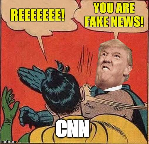 Hopefully this doesn't trigger too many Leftists | REEEEEEE! YOU ARE FAKE NEWS! CNN | image tagged in memes,batman slapping robin,triggered liberal,trump,cnn fake news,funny memes | made w/ Imgflip meme maker