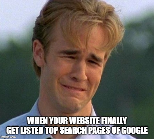 1990s First World Problems | WHEN YOUR WEBSITE FINALLY GET LISTED TOP SEARCH PAGES OF GOOGLE | image tagged in memes,1990s first world problems | made w/ Imgflip meme maker