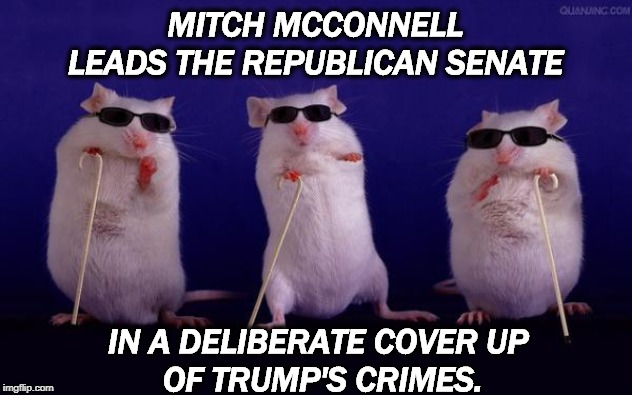 There are none so blind as those who WILL not see. And that's the job of Moscow Mitch. |  MITCH MCCONNELL LEADS THE REPUBLICAN SENATE; IN A DELIBERATE COVER UP  OF TRUMP'S CRIMES. | image tagged in trump,mitch mcconnell,senate,republican,cover up,impeachment | made w/ Imgflip meme maker