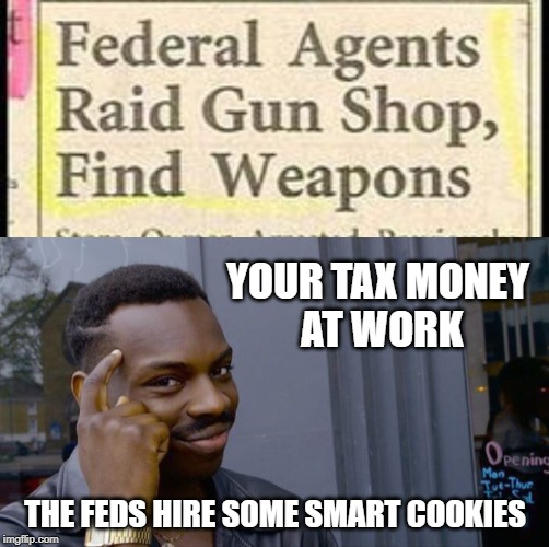 They almost missed them. | YOUR TAX MONEY  AT WORK THE FEDS HIRE SOME SMART COOKIES | image tagged in memes,roll safe think about it,feds,taxes | made w/ Imgflip meme maker