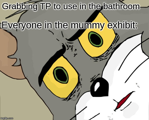 Unsettled Tom |  Grabbing TP to use in the bathroom; Everyone in the mummy exhibit: | image tagged in memes,unsettled tom,funny | made w/ Imgflip meme maker
