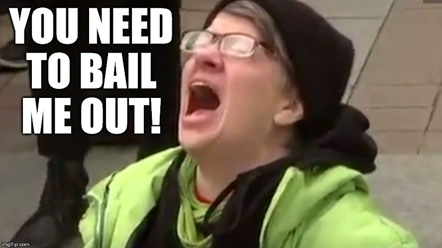 Screaming Liberal  | YOU NEED TO BAIL ME OUT! | image tagged in screaming liberal | made w/ Imgflip meme maker
