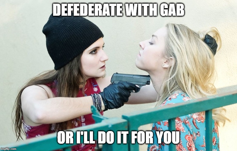 Gimme All Your X |  DEFEDERATE WITH GAB; OR I'LL DO IT FOR YOU | image tagged in gimme all your x | made w/ Imgflip meme maker