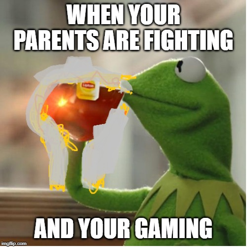 yeay | WHEN YOUR PARENTS ARE FIGHTING AND YOUR GAMING | image tagged in kermit | made w/ Imgflip meme maker