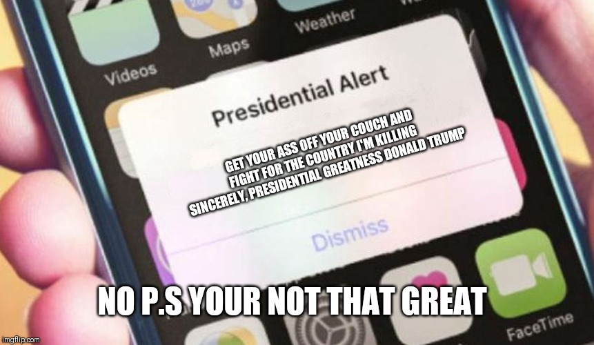 Presidential Alert | GET YOUR ASS OFF YOUR COUCH AND FIGHT FOR THE COUNTRY I'M KILLING SINCERELY, PRESIDENTIAL GREATNESS DONALD TRUMP NO P.S YOUR NOT THAT GREAT | image tagged in memes,presidential alert | made w/ Imgflip meme maker