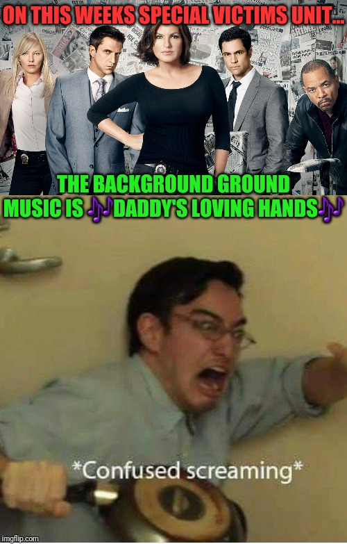 ON THIS WEEKS SPECIAL VICTIMS UNIT... THE BACKGROUND GROUND MUSIC IS ?DADDY'S LOVING HANDS? | image tagged in svu,confused screaming | made w/ Imgflip meme maker