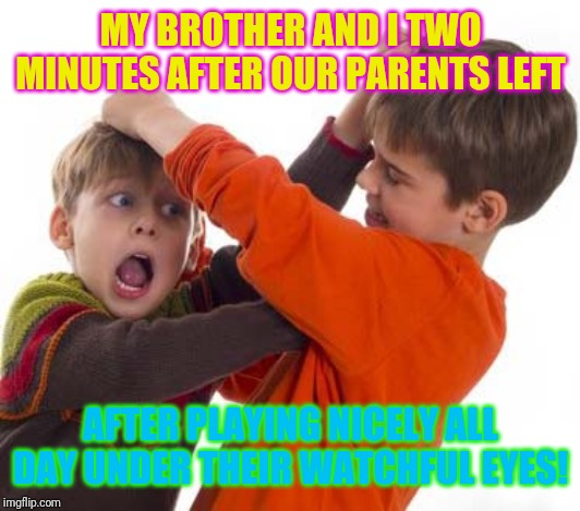 Childhood ahhh! |  MY BROTHER AND I TWO MINUTES AFTER OUR PARENTS LEFT; AFTER PLAYING NICELY ALL DAY UNDER THEIR WATCHFUL EYES! | image tagged in kids fighting,1980s,1970s,1960's,1950s,family feud | made w/ Imgflip meme maker