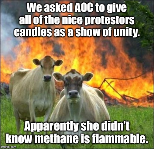 The Green New Deal |  We asked AOC to give all of the nice protestors candles as a show of unity. Apparently she didn't know methane is flammable. | image tagged in memes,evil cows,aoc,green new deal,methane | made w/ Imgflip meme maker