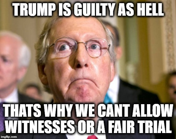 What are they afraid of? Answer : The Truth | TRUMP IS GUILTY AS HELL THATS WHY WE CANT ALLOW WITNESSES OR A FAIR TRIAL | image tagged in mitch mcconnell,liars,corruption,maga,impeach trump,politics | made w/ Imgflip meme maker