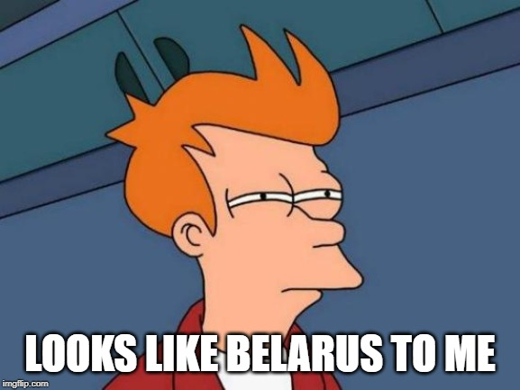 LOOKS LIKE BELARUS TO ME | image tagged in memes,futurama fry | made w/ Imgflip meme maker