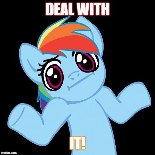 Pony Shrugs | DEAL WITH IT! | image tagged in memes,pony shrugs | made w/ Imgflip meme maker