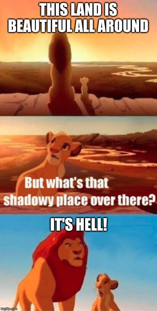 Simba Shadowy Place | THIS LAND IS BEAUTIFUL ALL AROUND IT'S HELL! | image tagged in memes,simba shadowy place | made w/ Imgflip meme maker