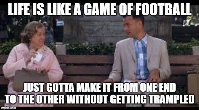 forrest gump box of chocolates |  LIFE IS LIKE A GAME OF FOOTBALL; JUST GOTTA MAKE IT FROM ONE END TO THE OTHER WITHOUT GETTING TRAMPLED | image tagged in forrest gump box of chocolates | made w/ Imgflip meme maker