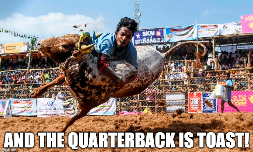 And the Quarterback is Toast! |  AND THE QUARTERBACK IS TOAST! | image tagged in quarterback,toast,cow,tackle,holy cow | made w/ Imgflip meme maker