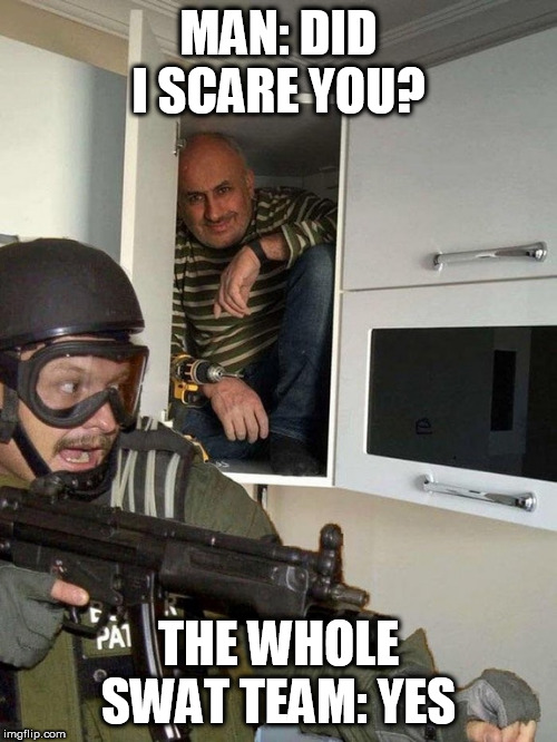 Man hiding in cubboard from SWAT template |  MAN: DID I SCARE YOU? THE WHOLE SWAT TEAM: YES | image tagged in man hiding in cubboard from swat template | made w/ Imgflip meme maker