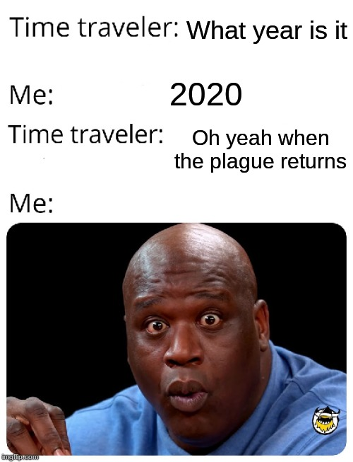 Time Traveler | What year is it 2020 Oh yeah when the plague returns | image tagged in time traveler | made w/ Imgflip meme maker
