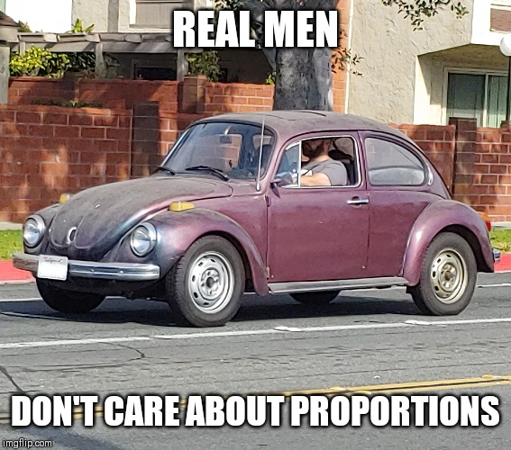 Fat guy in a little bug | REAL MEN DON'T CARE ABOUT PROPORTIONS | image tagged in funny memes,beetle,volkswagon,you mad bro,driver,vw | made w/ Imgflip meme maker