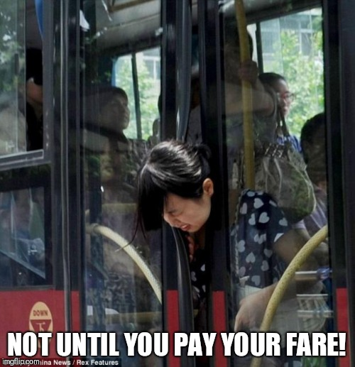 When fare evaders try to leave the bus. |  NOT UNTIL YOU PAY YOUR FARE! | image tagged in bus driver | made w/ Imgflip meme maker