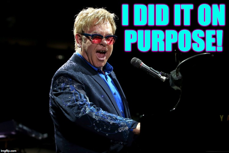 Elton John | I DID IT ON PURPOSE! | image tagged in elton john | made w/ Imgflip meme maker