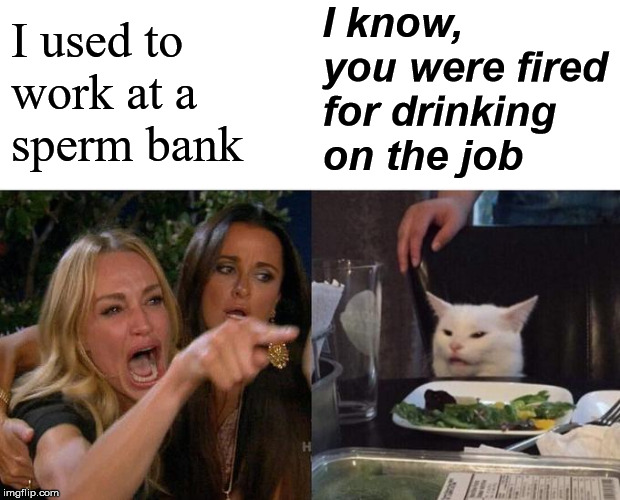 Come on it was just some White Russian | I used to  work at a  sperm bank I know, you were fired for drinking on the job | image tagged in memes,woman yelling at cat,drinking | made w/ Imgflip meme maker