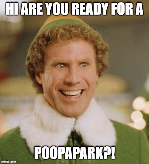 Buddy The Elf | HI ARE YOU READY FOR A POOPAPARK?! | image tagged in memes,buddy the elf | made w/ Imgflip meme maker