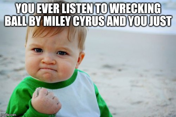 Success Kid Original | YOU EVER LISTEN TO WRECKING BALL BY MILEY CYRUS AND YOU JUST | image tagged in memes,success kid original | made w/ Imgflip meme maker