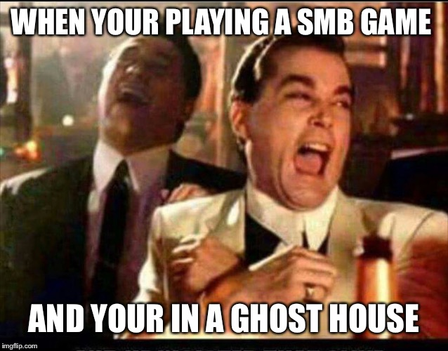WHEN YOUR PLAYING A SMB GAME AND YOUR IN A GHOST HOUSE | image tagged in lol good fellas | made w/ Imgflip meme maker