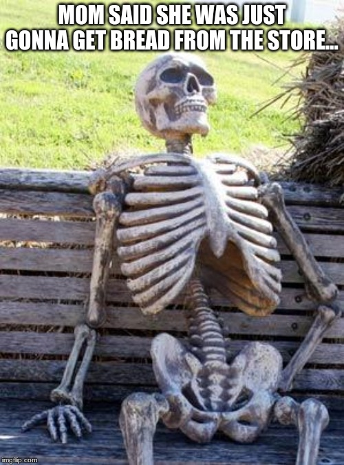 Waiting Skeleton | MOM SAID SHE WAS JUST GONNA GET BREAD FROM THE STORE... | image tagged in memes,waiting skeleton | made w/ Imgflip meme maker