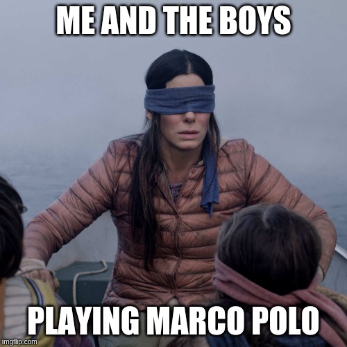 Bird Box | ME AND THE BOYS PLAYING MARCO POLO | image tagged in memes,bird box,marco polo,me and the boys,bruh | made w/ Imgflip meme maker