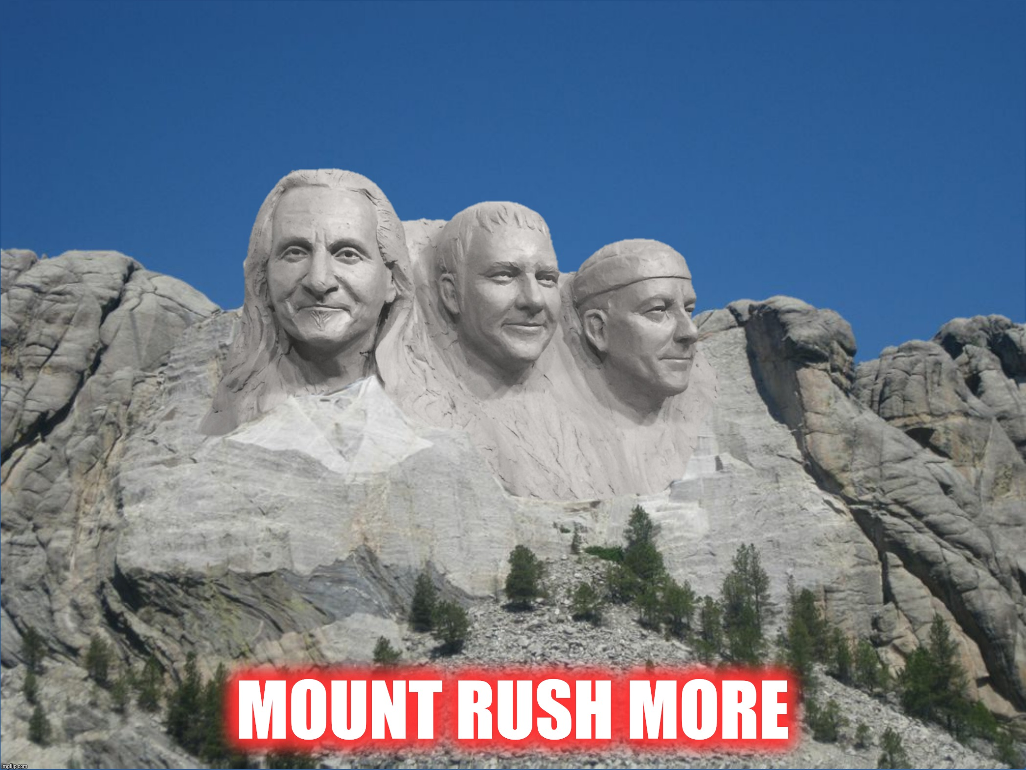 Bad Photoshop Sunday pays tribute to the greatest drummer ever |  MOUNT RUSH MORE | image tagged in bad photoshop sunday,neil peart,alex lifeson,geddy lee,rush,mount rushmore | made w/ Imgflip meme maker