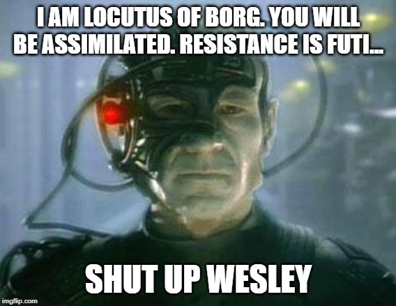 Locutus. Shut up Wesley. |  I AM LOCUTUS OF BORG. YOU WILL BE ASSIMILATED. RESISTANCE IS FUTI... SHUT UP WESLEY | image tagged in the borg,locutus,shut up wesley | made w/ Imgflip meme maker
