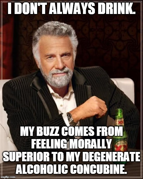 I'm on a self-righteous streak again | I DON'T ALWAYS DRINK. MY BUZZ COMES FROM FEELING MORALLY SUPERIOR TO MY DEGENERATE ALCOHOLIC CONCUBINE. | image tagged in memes,the most interesting man in the world,concubine,moral superiority,drinking,alocohol | made w/ Imgflip meme maker