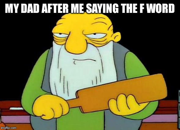 That's a paddlin' |  MY DAD AFTER ME SAYING THE F WORD | image tagged in memes,that's a paddlin' | made w/ Imgflip meme maker