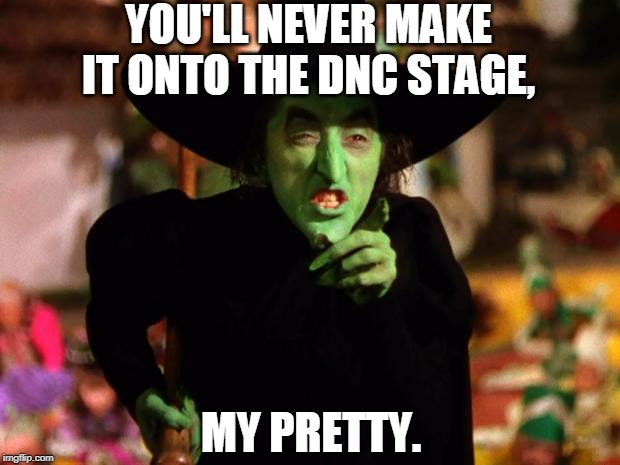 YOU'LL NEVER MAKE IT ONTO THE DNC STAGE, MY PRETTY. | image tagged in wicked witch | made w/ Imgflip meme maker