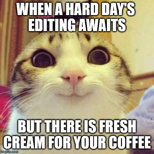 Smiling Cat | WHEN A HARD DAY'S  EDITING AWAITS BUT THERE IS FRESH CREAM FOR YOUR COFFEE | image tagged in memes,smiling cat | made w/ Imgflip meme maker