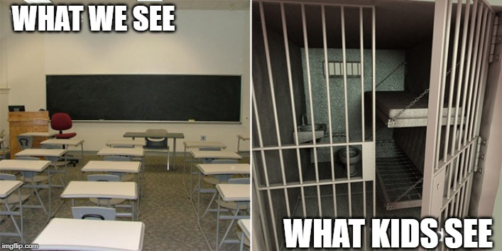 what we see  what kids see |  WHAT WE SEE; WHAT KIDS SEE | image tagged in kids,jail,school | made w/ Imgflip meme maker