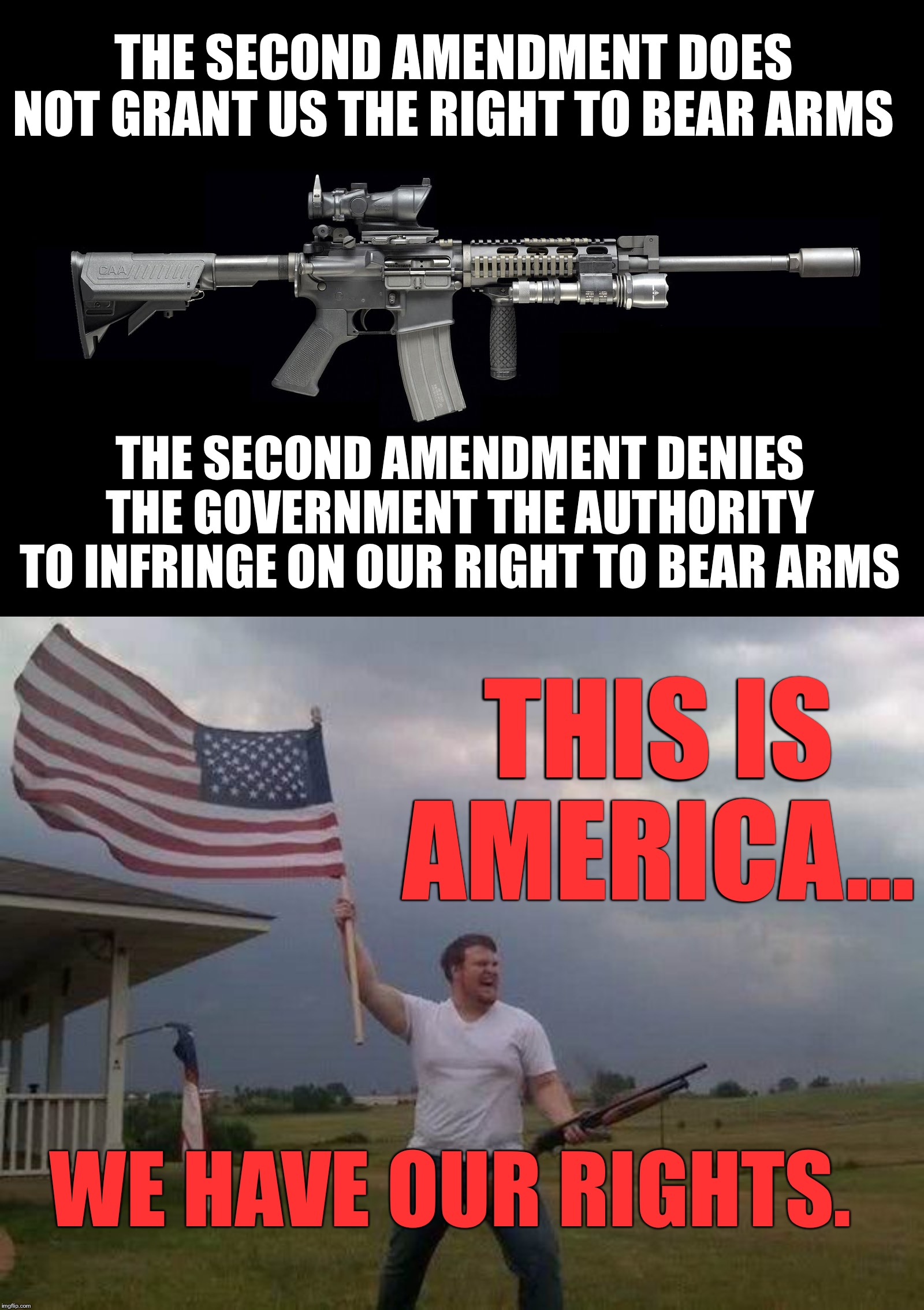 The Second Amendment protects an individual right to possess a firearm unconnected with service in a militia. | THE SECOND AMENDMENT DOES NOT GRANT US THE RIGHT TO BEAR ARMS THE SECOND AMENDMENT DENIES THE GOVERNMENT THE AUTHORITY TO INFRINGE ON OUR RI | image tagged in second amendment | made w/ Imgflip meme maker