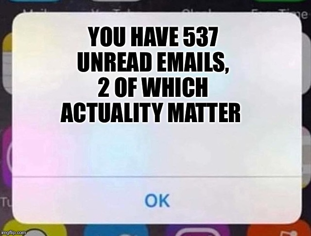 YOU HAVE 537 UNREAD EMAILS, 2 OF WHICH ACTUALITY MATTER | image tagged in iphone notification | made w/ Imgflip meme maker