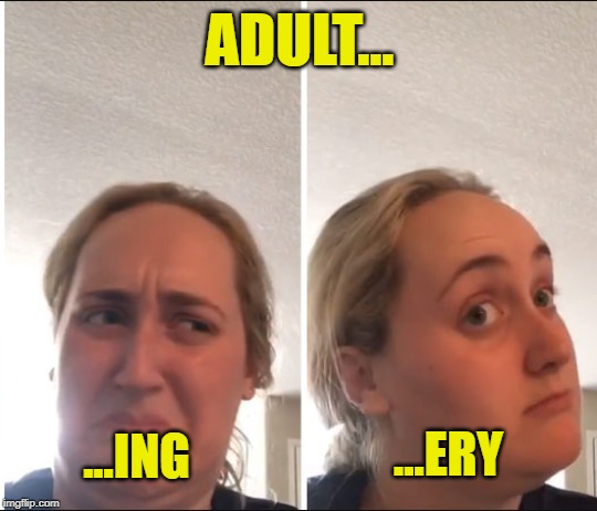 An Adult Meme | ADULT... ...ING ...ERY | image tagged in kombucha girl,adulting,adultery | made w/ Imgflip meme maker